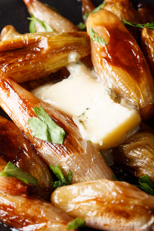 caramelized balsamic shallots onion with roquefort cheese and parsley macro on a plate. vertical.  Stock Photo