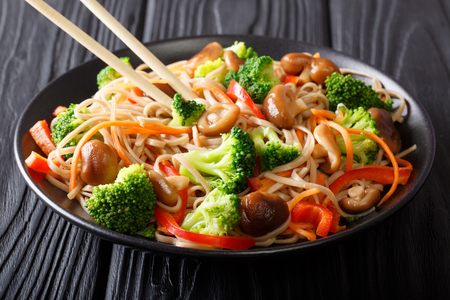 Stir Fry soba with shiitake mushrooms, broccoli, carrots, peppers close-up on a plate on the table. horizontal  Reklamní fotografie