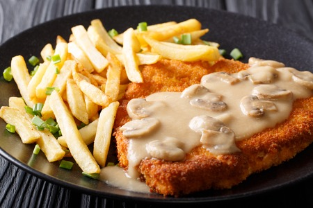 delicious Wiener Hunter schnitzel with sauce and french fries close-up on a plate. horizontal