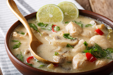 Thai chicken soup tom kha gai with coconut milk close-up in a bowl on the table. horizontal Standard-Bild