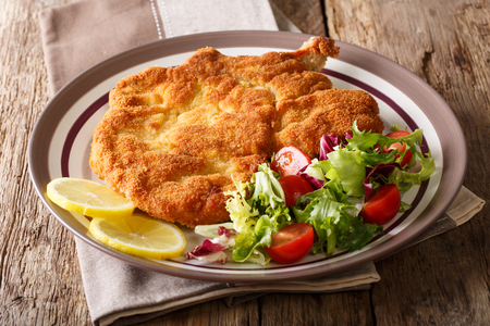 Authentic Italian food: veal Milanese with lemon and fresh vegetable salad close-up on a plate. horizontal Foto de archivo - 98367396