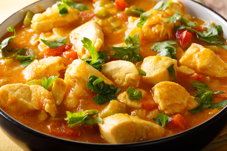 Brazilian food: Bobo chicken stew with vegetables in coconut milk close-up in a bowl. horizontal