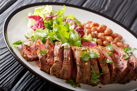 Grilled sliced carne asada beef steak with lettuce and beans close-up on a plate. horizontal Archivio Fotografico