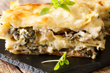 White lasagna with chicken, forest mushrooms, cheese and bechamel sauce close-up on a slate plate. horizontal Imagens