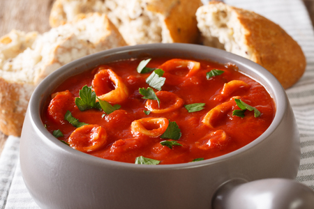 Stewed from spicy squid in tomato sauce close-up in a bowl. Mediterranean food. horizontal