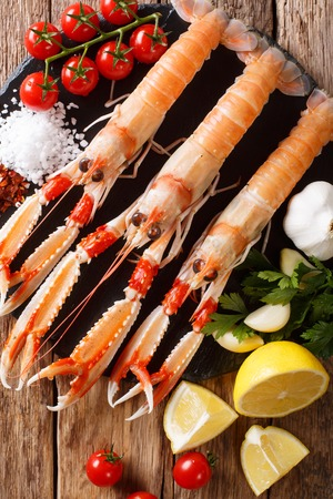 beautiful set of fresh raw langoustine, scampi with seasonal vegetables and herbs closeup on a board on a wooden table. Vertical top view from above