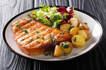 Grillez l'espadon de steak servi avec des pommes de terre et une salade fraîche en gros plan sur une assiette sur fond noir. horizontal Banque d'images