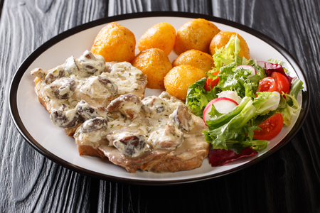Fried pork tenderloin in a creamy cheese sauce with mushrooms, new potatoes and fresh salad close-up on a plate on the table. horizontal