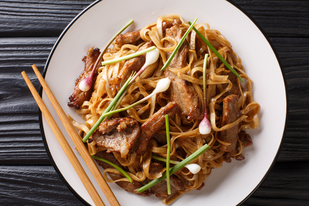 Beef Chow Fun - Beef stir-fried with rice noodle, bean sprouts, spring onions and Chinese chives is a famous Cantonese dish closeup on the plate on the wooden table. horizontal top view from above