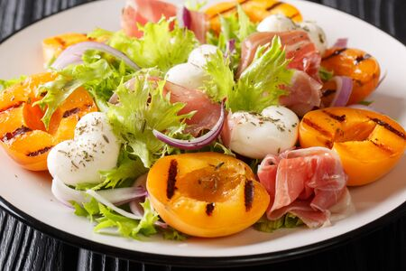 Italian salad with mozzarella, prosciutto, grilled apricots, red onion and  lettuce close-up on a plate on the table. horizontal