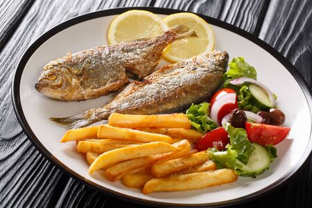 Traditional fried Sarpa salpa fish with lemon and side dish of fresh vegetable salad and french fries close-up on a plate on the table. horizontal