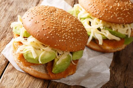Traditional Mexican Cemita Poblana sandwich with meat, cheese, avocado and sauce close-up on the table. horizontal