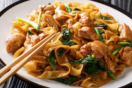 Stir fry of noodles with chicken, Chinese broccoli and egg close-up on a plate on the table. Thai Pad See Ew. Horizontal Banco de Imagens