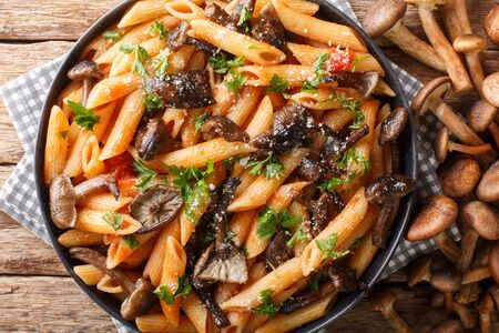 Serving penne pasta with roasted honey mushrooms and tomato sauce close-up in a plate on the table. Horizontal top view from above Stock Photo