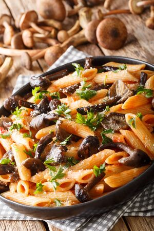 Italian penne pasta with Armillaria mellea mushrooms, tomatoes, cheese and parsley close-up in a plate on the table.