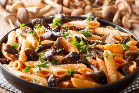 Penne pasta with wild mushrooms honey fungus, tomatoes, cheese and parsley close-up in a plate on the table. horizontal Stock Photo