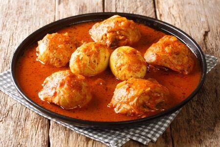 Plat national éthiopien, le doro wat est le plat traditionnel le plus populaire de ce pays en gros plan dans une assiette sur la table. Horizontal