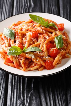 Tasty Trofie with tomato sauce, cheese and basil close-up in a plate on the table. vertical  Zdjęcie Seryjne