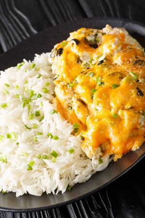 Olivia chicken Recipe in creamy cheese sauce served with rice closeup on a plate on the table. vertical  Zdjęcie Seryjne