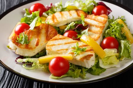 Grilled halloumi cheese served with fresh vegetables close-up in a plate on the table. horizontal  Stock Photo
