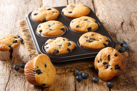Delicate juicy blueberry muffins close-up in a baking dish on the table. horizontal