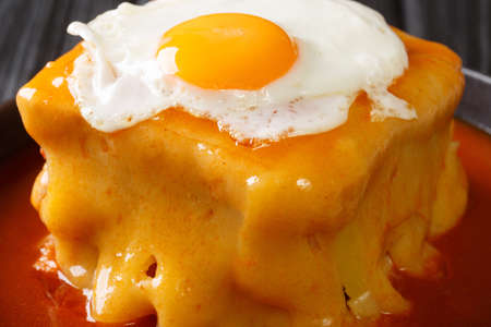 Francesinha is a unique sandwich consisting of toasted bread, beef, sausages, ham, and cheese, doused in a rich beer infused tomato sauce close-up in a plate. Vertical