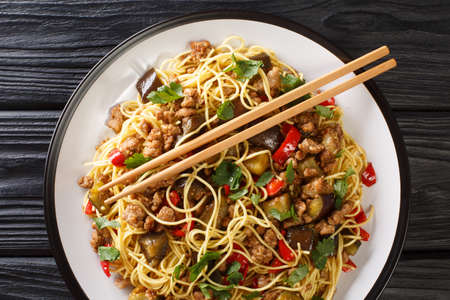 風味豊かでスパイシーな中国のナス炒め、豚ひき肉炒めは、テーブルの上の皿に麺をクローズアップして提供するのに最適です。上から見た水平上面図
