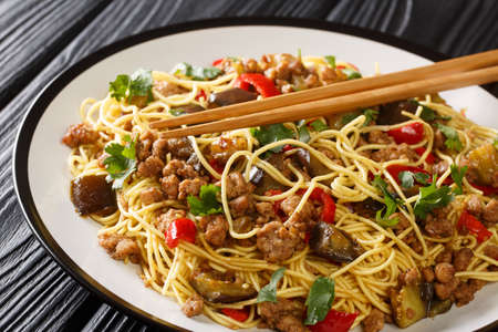 Savory and spicy Chinese eggplant stir fry with minced pork is great to serve with noodles close-up in a plate on the table. Horizontal