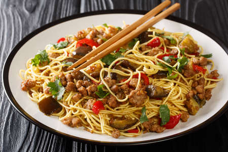 Chinese fried eggplant with minced meat, egg noodles, garlic and herbs close-up in a plate on the table. horizontal Banco de Imagens