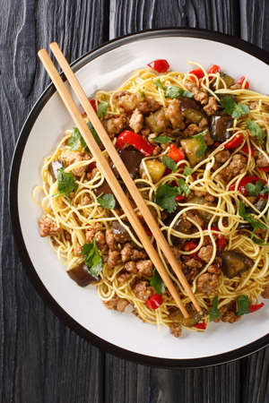 Chinese eggplant with minced pork served with egg noodles close-up in a plate on the table. vertical top view from above