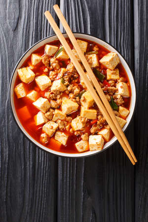 Mapo Tofu classic recipe consists of silken tofu, ground pork, fermented beans, fermented black beans, and Sichuan peppercorn closeup in the plate on the table. Vertical top view from above