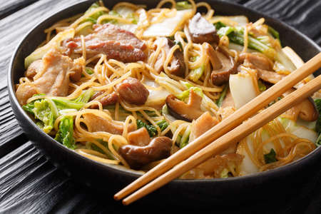Glass Noodles with pork belly, mushrooms and napa cabbage close-up in a plate on the table. horizontal