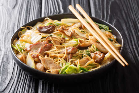 Tasty Cellophane noodles with fried pork belly, shiitake and napa cabbage in soy sauce close-up in a plate on the table. Horizontal