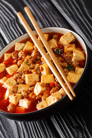 Mapo Tofu classic recipe consists of silken tofu, ground pork, fermented beans, fermented black beans, and Sichuan peppercorn closeup in the plate on the table. Vertical