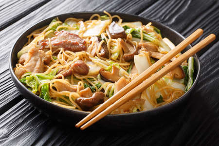 Cellophane Noodles cooked with pork belly, mushrooms and napa cabbage close-up in a plate on the table. horizontal