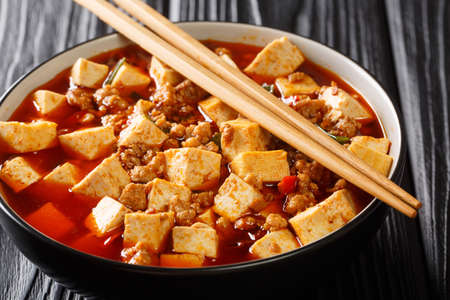 Mapo Tofu is a fiery Sichuan pork and tofu stir-fry with the hallmark mala balance of tongue tingling and spicy closeup in the plate on the table. Horizontal