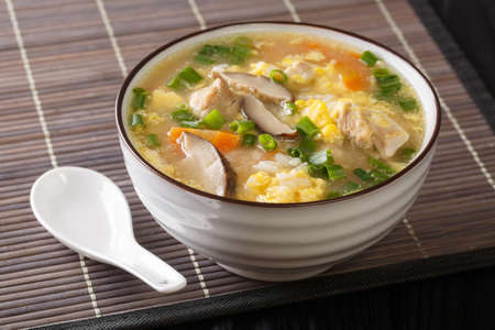 Japanese hot Rice Soup Zosui with chicken, egg and vegetables close-up in a bowl on the table. Horizontal