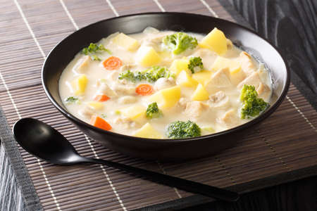 White colored stew made from bechamel sauce with chicken, carrots, potatoes, onions and mushrooms close-up in a bowl on the table. Horizontal