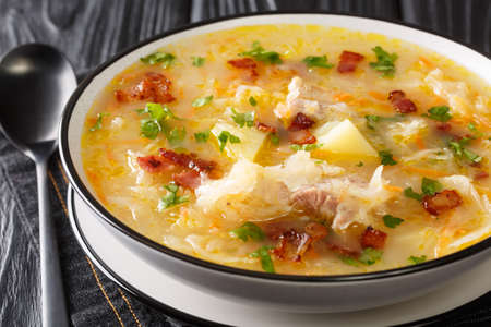 Delicious Polish sauerkraut soup with vegetables and ribs and bacon close-up in a plate on the table. horizontal