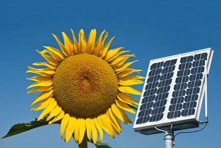 Sunflower and panel solar, the future energy Stock Photo - 10015592