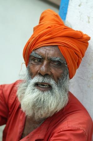 guru: Nepal, Kathmandu Valley, octiber 11, 2010. Shaiva sadhu (holy man) protrait (Nepal, Kathmandu