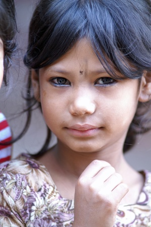 swarthy: Kathmandu, Nepal, october 11, 2010: young nepalese child protrait