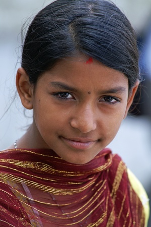 Kathmandu, Nepal, october 11, 2010: young indian child in national clothes