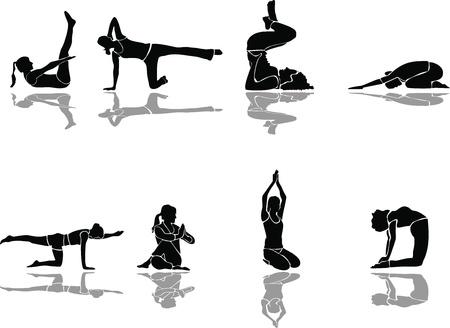 yoga meditation: Fitness e vettoriale siluette yoga
