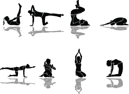 mudra: Yoga siluette vector and fitness