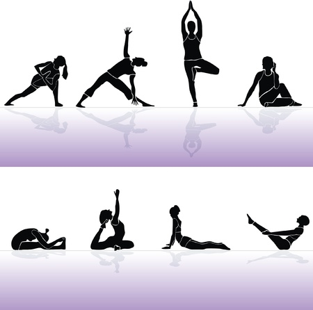 Yoga siluette vector and fitness 2 Vector