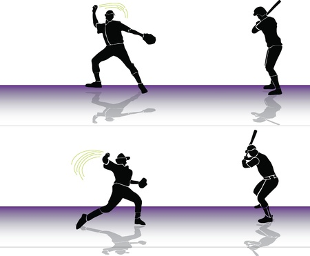 Baseball: player throws to batter Stock Vector - 10329004