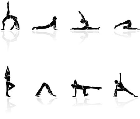Gimnasia y yoga silueta vector