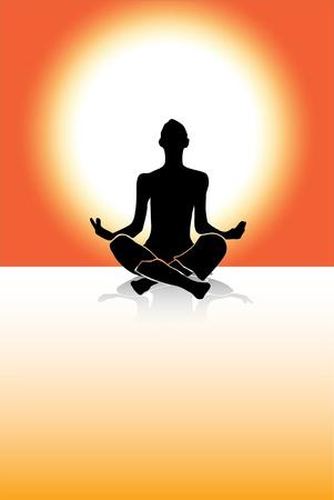 Silueta de hombre de vector de yoga