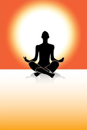 hand weight: Yoga vector man siluette Illustration